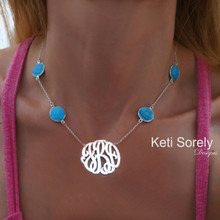 Personalized Turquoise Necklace with Monogrammed Initials - Choose Your Metal