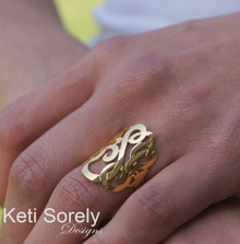 "Personalized Hand Cut Monogram 1"" Initials Ring- Choose Your Metal"
