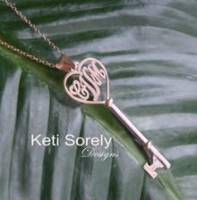 Heart & Key Monogram Pendant - Yellow, Rose or White Gold