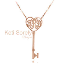 Heart & Key Monogram Necklace - Rose Gold