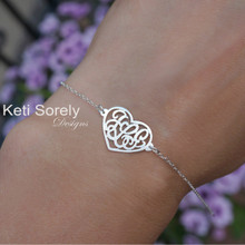Heart Monogram Bracelet or Anklet  With Couples Initials - Choose Metal