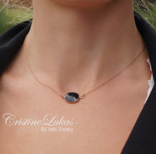 Onyx Stone Necklace in Basel Frame - Rose