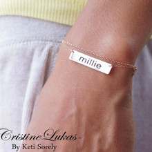 Engraved Name Plate Bracelet With Double Chain- Rose Gold