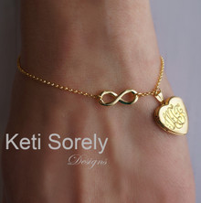 Infinity Bracelet With Engraved Heart Locket- Yellow Gold