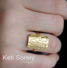 Hand Engraved Rectangle Ring Monogrammed Initials - Yellow, Rose or White Gold
