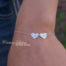 Engraved Hearts Bracelet Or Anklet with Your Initials - Choose Your Metal
