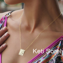 Geometrical Shape Monogram Necklace With Initials - Choose Your Metal