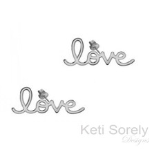 Personalized Name Earrings with Script Font - White