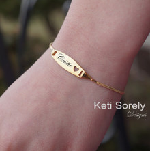 Personalized Heart ID Bracelet For kids and Teens - 14K Gold Filled