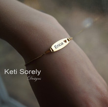 Personalized Block ID Bracelet For kids and Teens - 14K Gold Filled