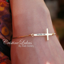 Celebrity Style Sideways Cross Bangle with Engraved Name- 24K gold/Sterling Silver