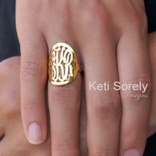 "Large Hand Cut Framed Monogram Initials Ring 1"" - Silver, Yellow, Rose or White Gold"