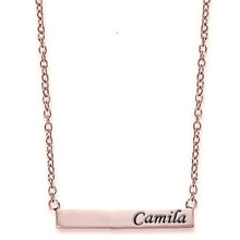 Celebrity Style Small Bar Necklace with Engraved Initials - Rose