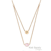 Layered Initial and Gemstone Necklace -Choose Metal