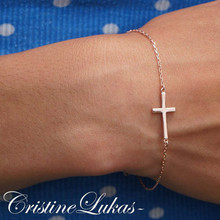 Celebrity Style Sideways Cross Bracelet -Choose Your Metal