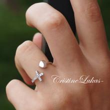 Open Sideways Cross with Heart & Cubic Zierconia Stones - Adjustable Ring