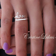 Personalized Promise, Expression or Name Ring with By Pass Heart - White Gold
