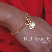 Family Initials Bracelet With Toggle Clasp - 14K Gold Filled