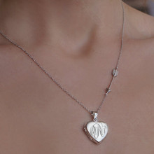 Hand Engraved Heart Monogram Initial Locket With Arrow - Sterling SIlver