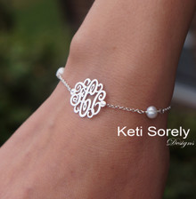 Cultured Pearl Bracelet with Monogrammed Initials - Sterling Silver