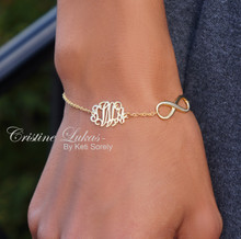 Monogrammed Initials Bracelet or Anklet With Infinity - Choose Your Metal