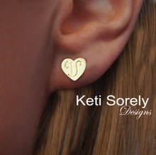Hand Engraved hear Earrings in Solid Yellow, Rose or White Gold