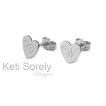 Small Heart Stud Initials Earrings With Engraved Scrip Initial - White Gold