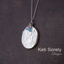 Hand Engraved Monogram Initial Locket With Birthstones - Sterling SIlver