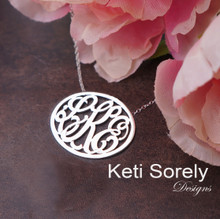 Oval Monogrammed Necklace with Script Initials - Choose Your Metal
