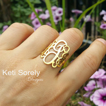 Swirly Monogram Initials Ring - Handmade From Sterling Silver or Solid Gold