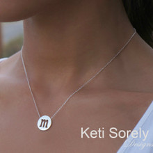 Cut out Modern Initial Necklace - White Gold