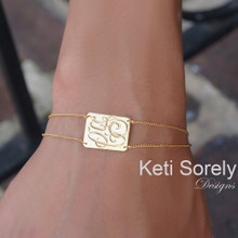 Hand Engraved Bracelet or Anklet with Rectangle Monogram Charm & Double Chain  - Choose Metal