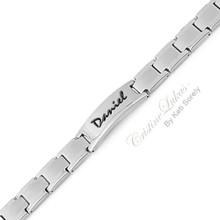 Men's Engraved Name Bracelet -  Stainless Steel