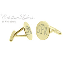Modern Initials Cuff Links for Man - Sterling Silver With 24K Gold