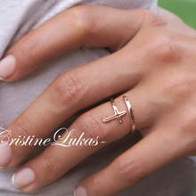 Double Wrap Celebrity Style Cross Ring - Sterling Silver or Solid Gold