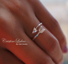 Double Wrap Adjustable Arrow Ring - Choose Your Metal