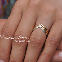 Tri Color Chevron Stock Rings Set - Sterling Silver or Solid Gold