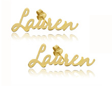 "Personalized Name Earrings with Script Font ""Lauran"" Style - Yellow Gold"