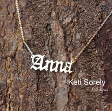 Hand Cut Name Necklace - Old English (Yellow Gold)