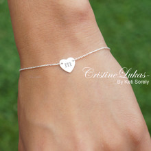Hand Engraved Heart Bracelet with Single Initial - Choose Your Metal