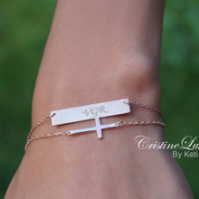 Hand Engraved Layered Bar Bracelet with Sideways Cross - Choose Your Metal