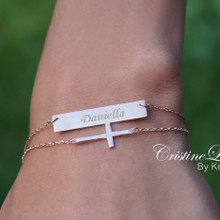 layered Bar Bracelet With Sideways Cross - Engrave Name, Date or Word - Choose Your Metal