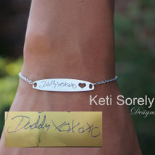 Handwritten Message or Signature Bracelet With Cut - Out Heart - Yellow, Rose or White Gold