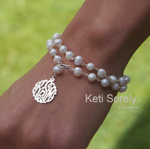 Double Stand Fresh Water Pearl Bracelet with Monogrammed Initials -Silver