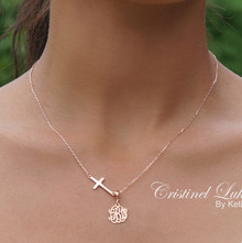 Sideways Cross Necklace with Monogram Initials Charm - Sterling Silver or Solid Karat Gold