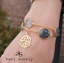 18K Gold Vermeil Gemstone double bracelet with Monogrammed Initials Charm