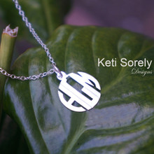 Monogram Charm Necklace  With Modern Block Letters - Choose Metal