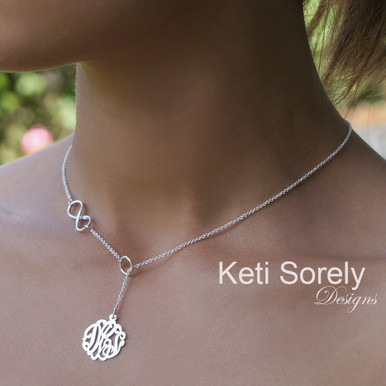 Drop Monogram Lariat Necklace With Sideways Infinity Symbol