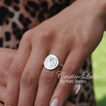Hand Engraved Round Disc Monogram Initials Ring - White