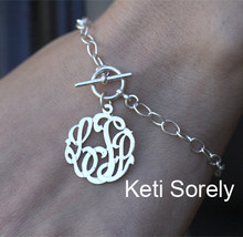 Large Link Bracelet with Toggle Clasp & Monogrammed Initials Charm - Choose Your Metal